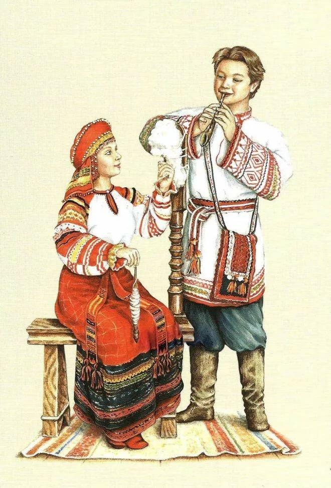 Картинка, открытки с русско народными костюмами
