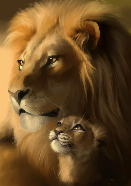 Лев и львица рисунки специально сделал