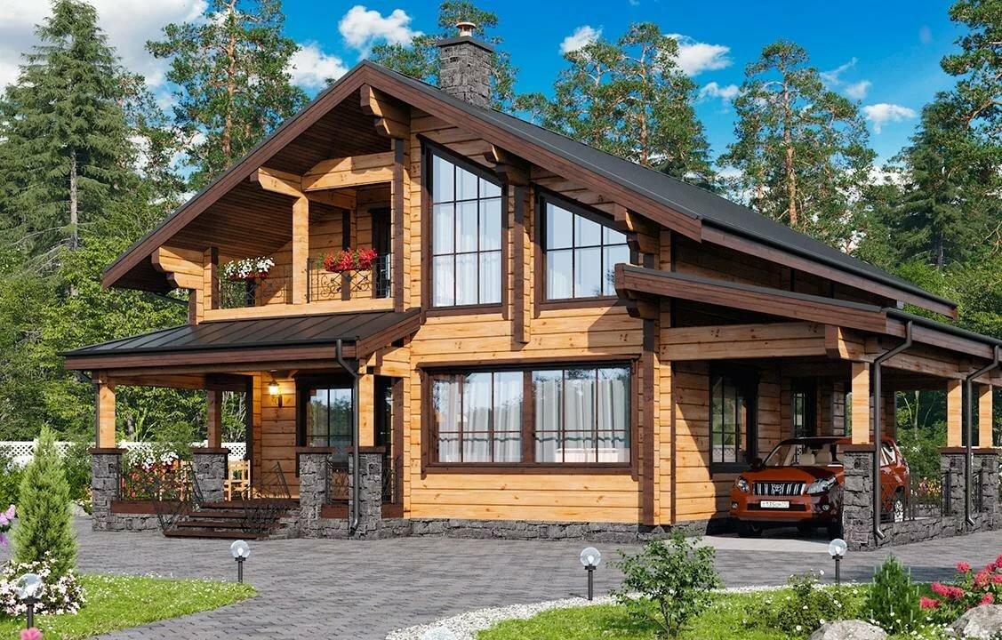представляешь дом деревянный двухэтажный с террасой фото ряду