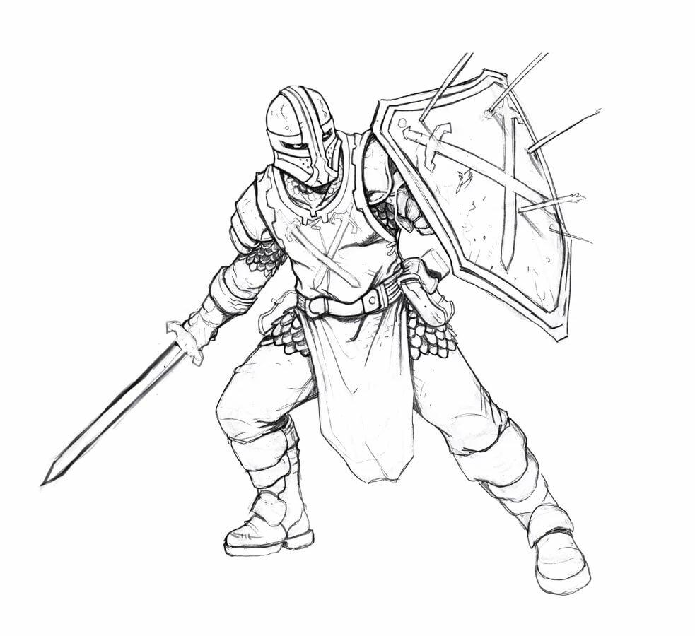 Картинки рыцаря в доспехах для срисовки