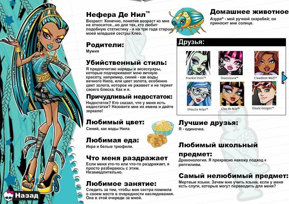 Анкета монстер хай на русском картинки
