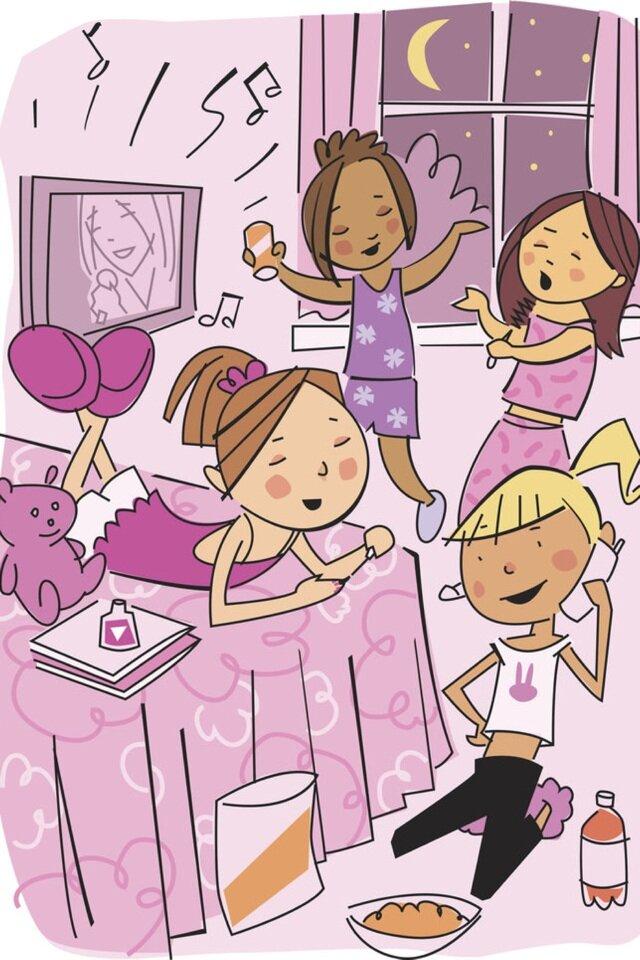 Картинка подруг на вечеринке нарисованные