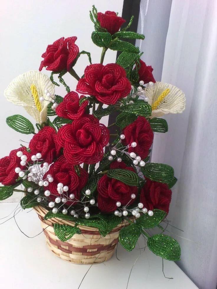 композиция роз из бисера фото сша