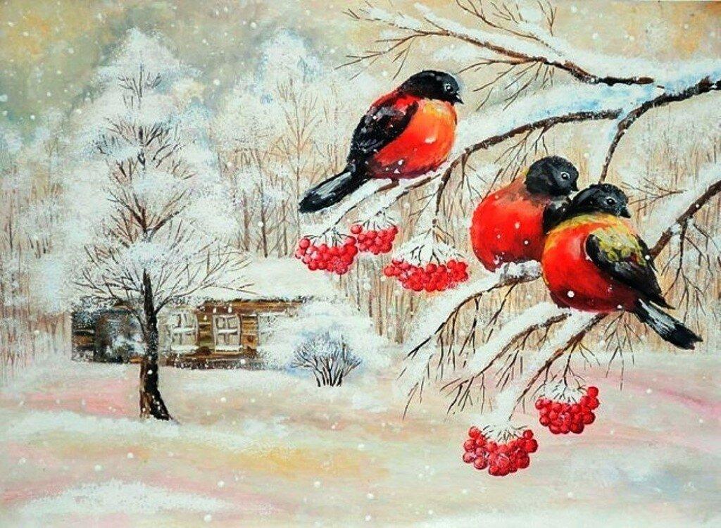 Красивые рисунки снегирей для детей