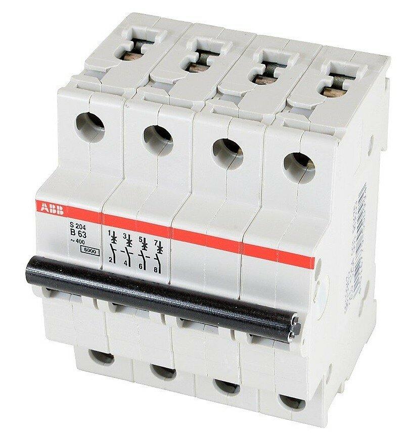 4 полюсный автоматический выключатель ABB серии S 204 B 63
