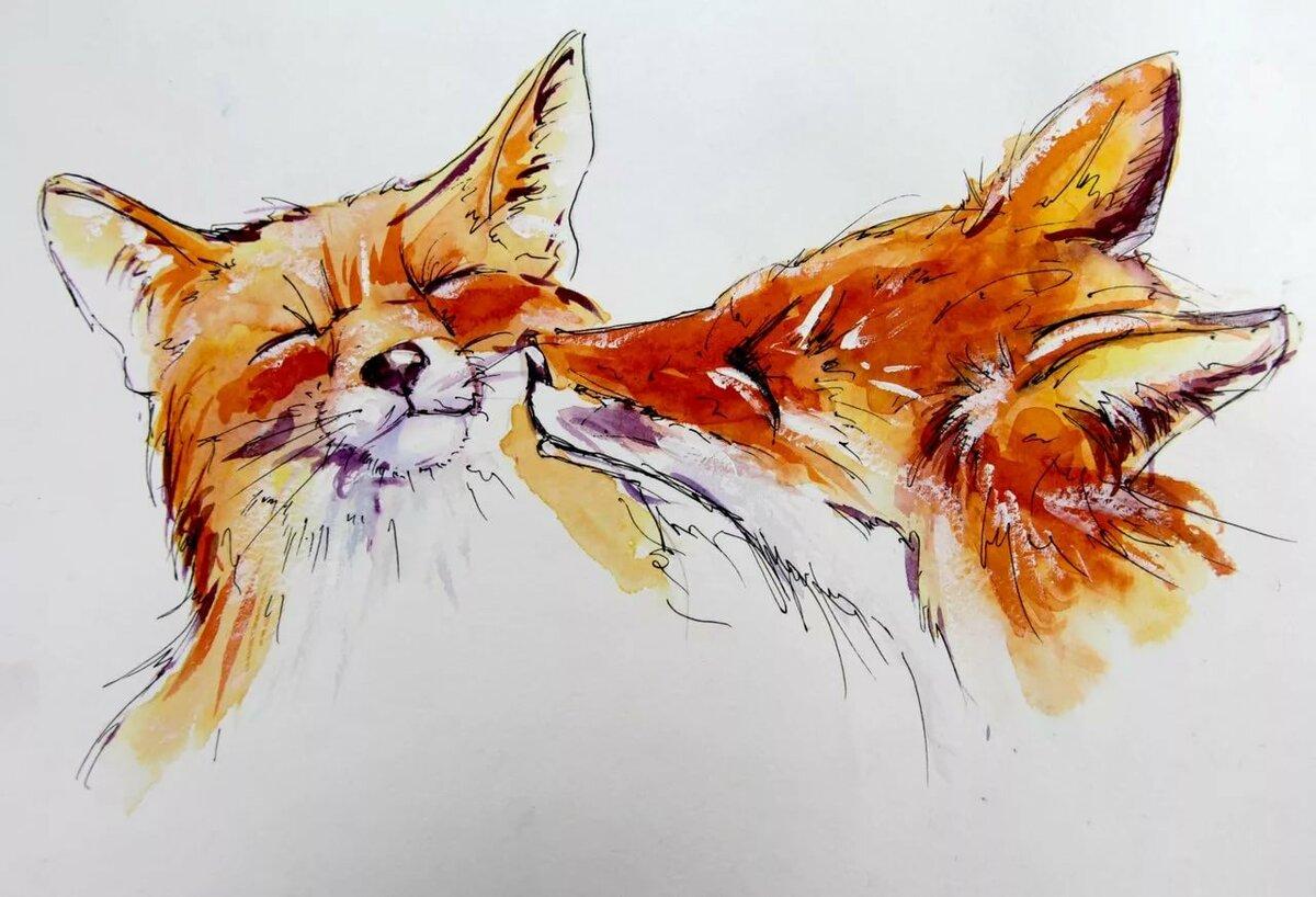 Прикольные рисунки животных акварелью