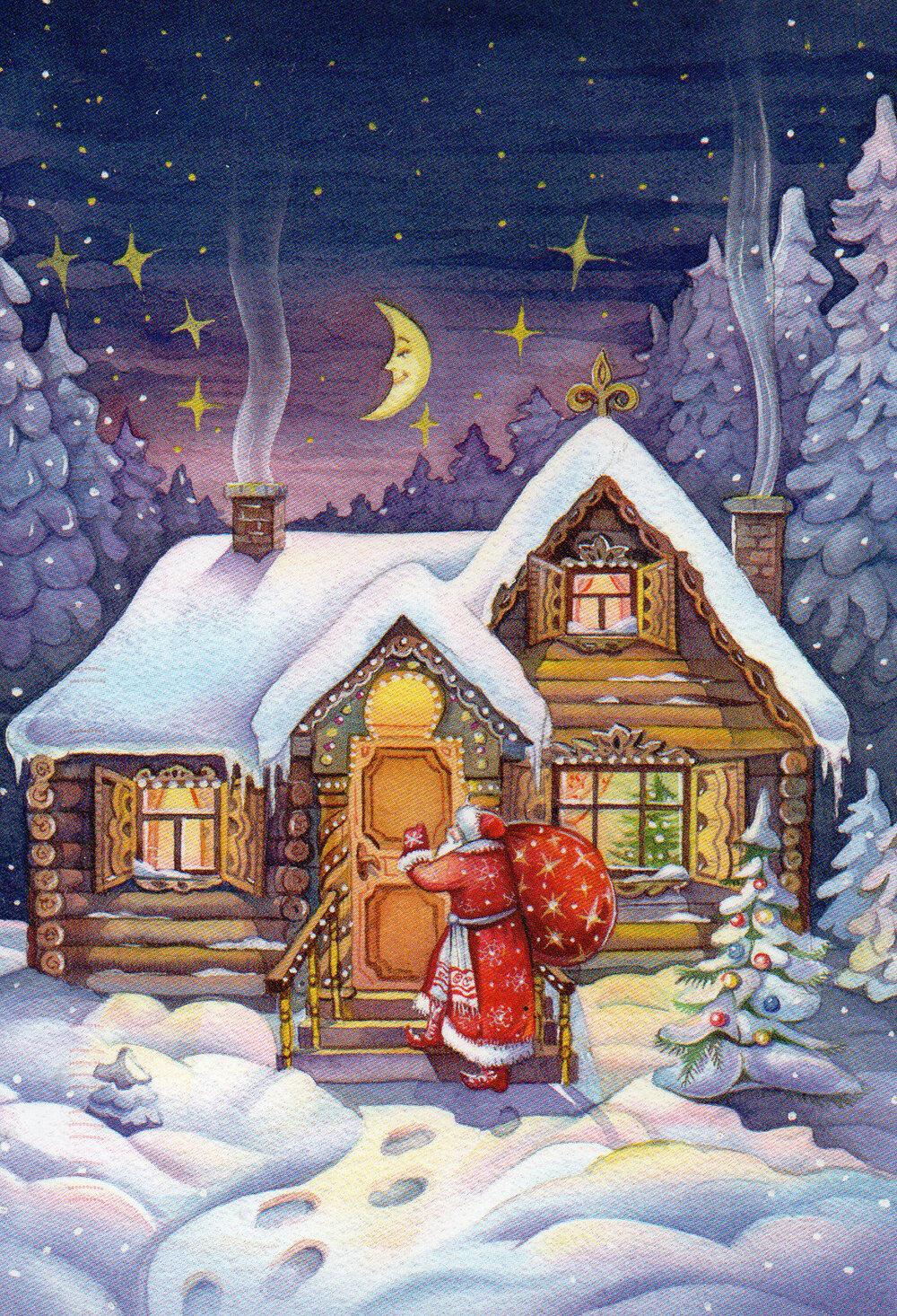 Картинки дом деда мороза сказочный