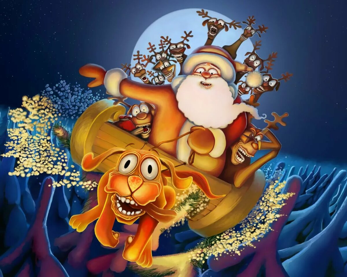 Поздравления с новым годом олени и дед мороз