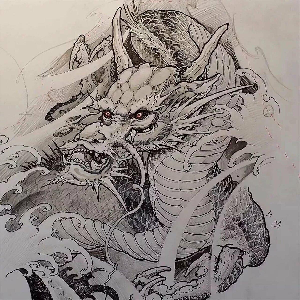 Фото белого дракона тату