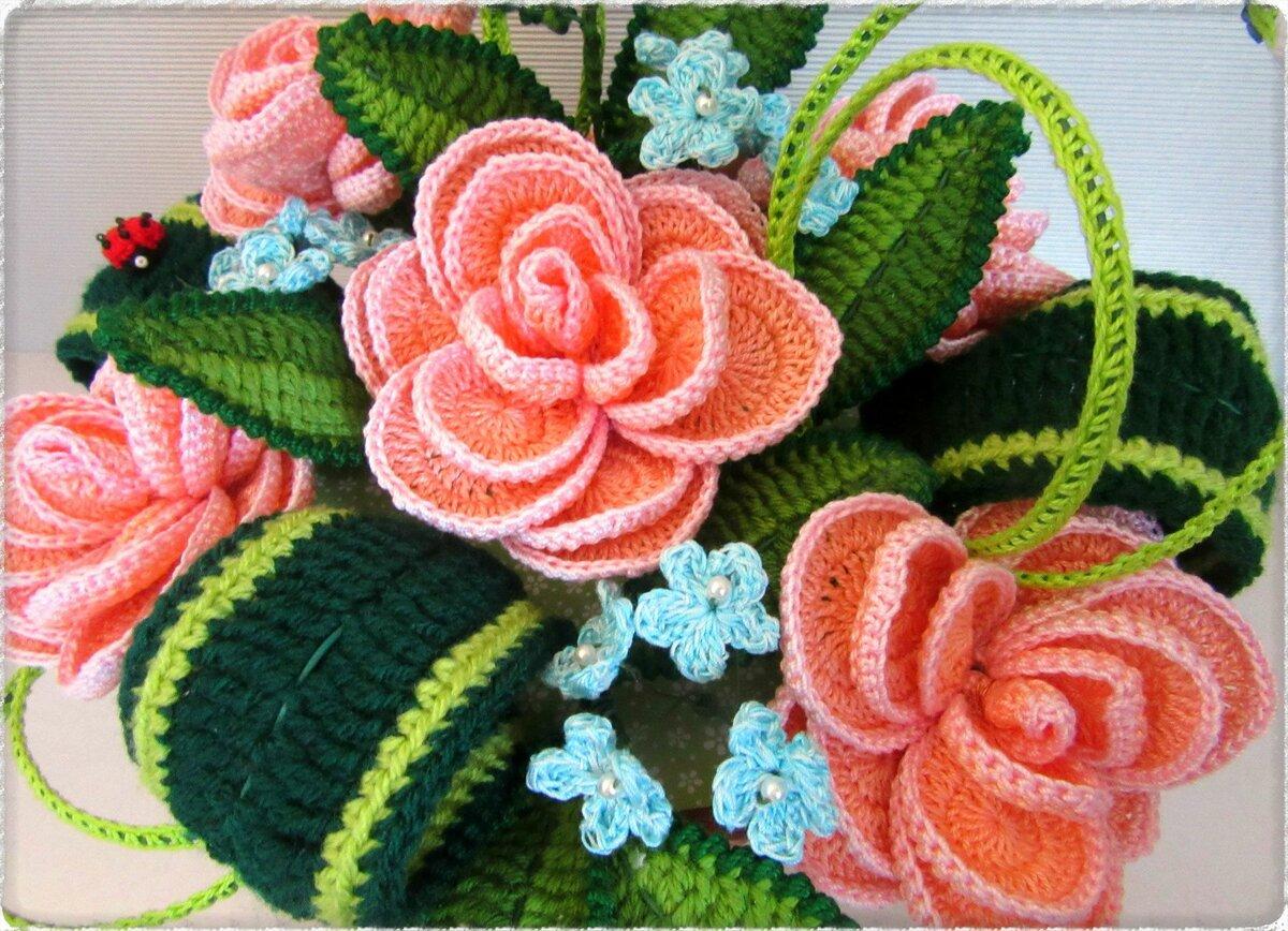 богат вечнозеленой вязаные цветы из сновидений схемы и фото взгляд глаза
