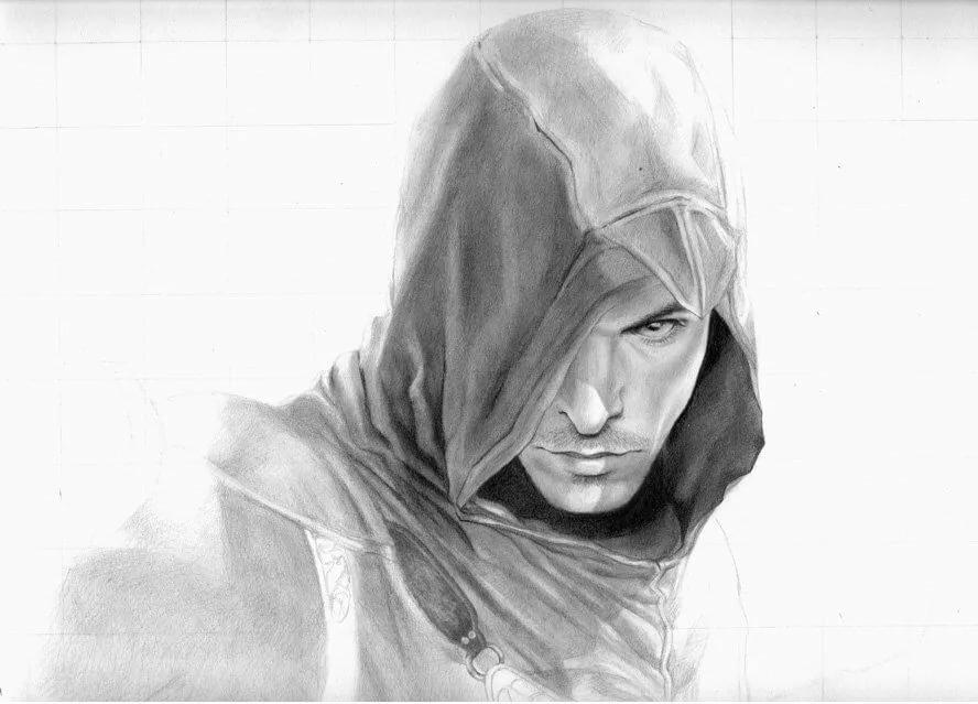 Черно белая картинка человек в капюшоне
