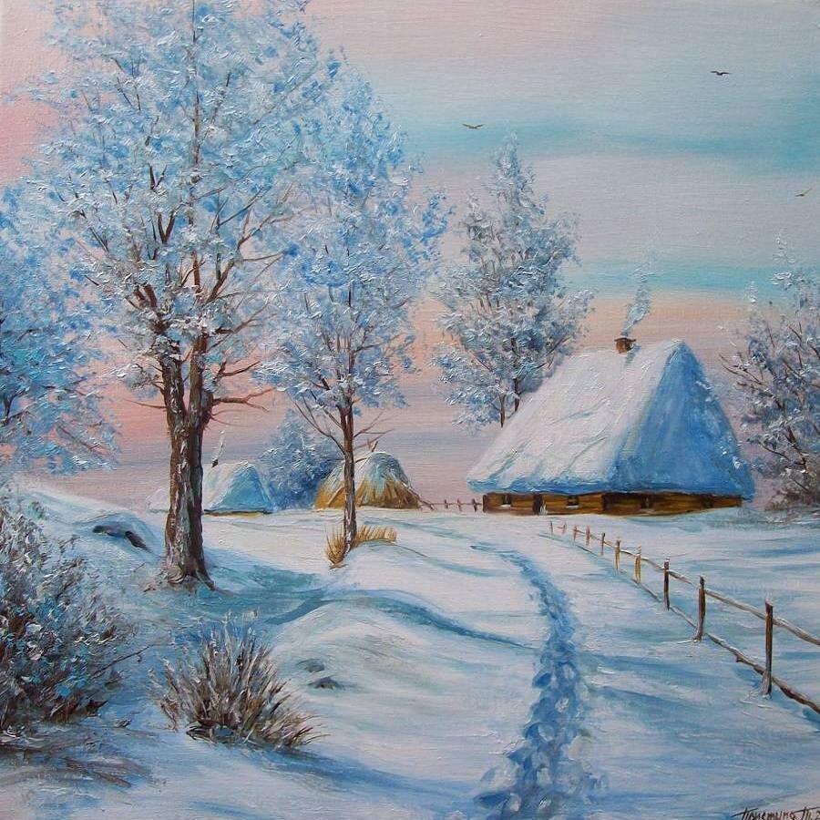 Зимний пейзаж рисованные картинки