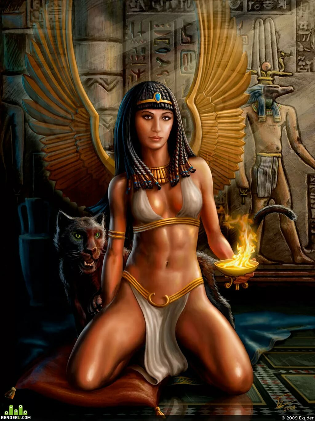 Ancient egyptian art nude queen with juguars statue figurine sculpture