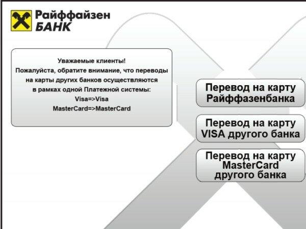 райффайзенбанк перевод с карты на карту другого банка