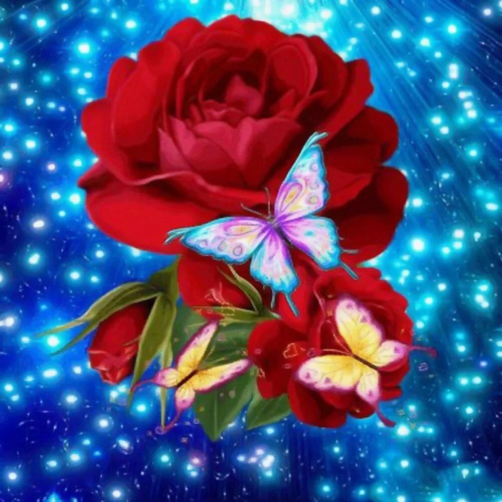 Анимашки с цветами и бабочками, смешная