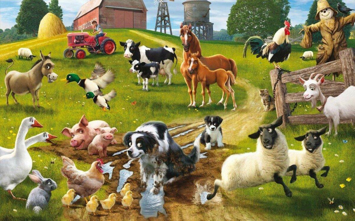 Домашние животные и птицы на одной картинке