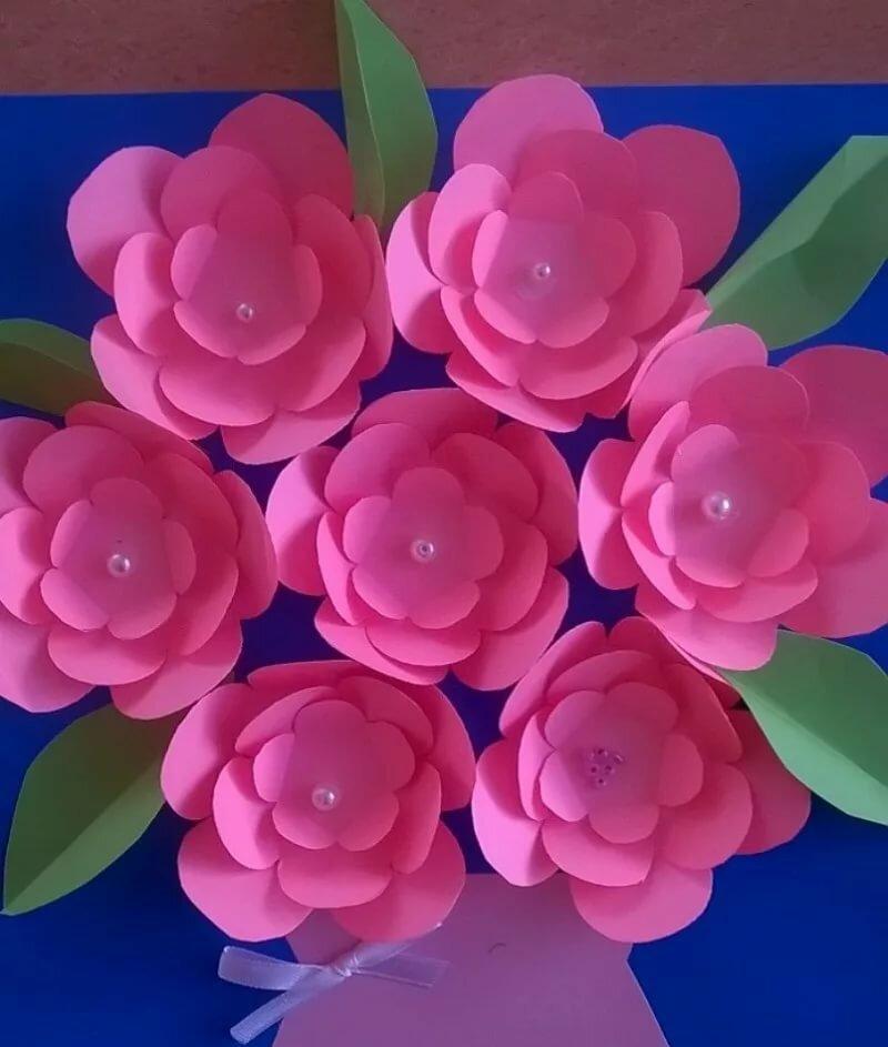 Открытки из цветы из бумаги к 8 марта