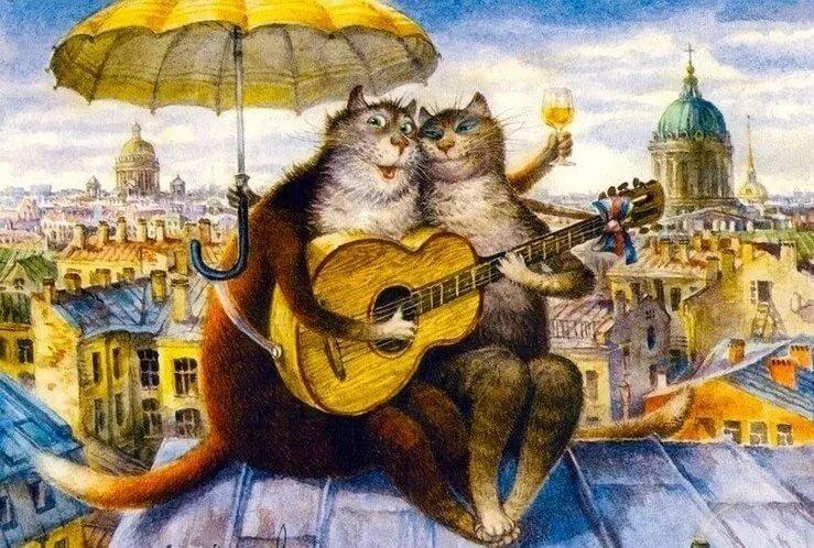 Картинка встреча котов