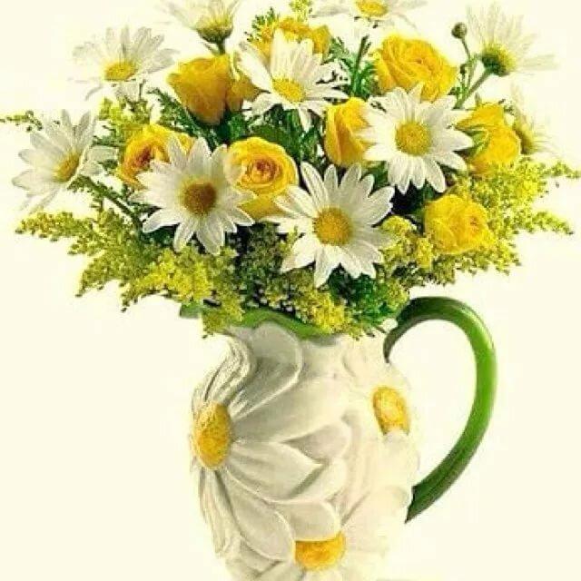 Открытки букет ромашек для женщины, розами