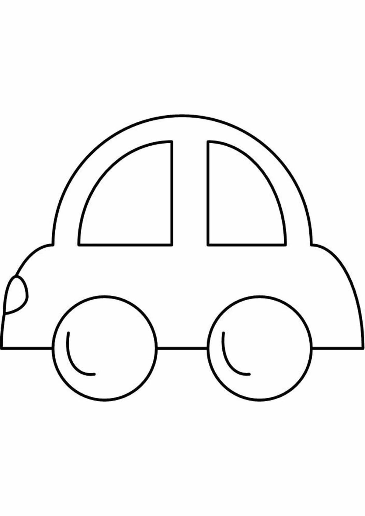 Рисунок машинки для раскрашивания малышам