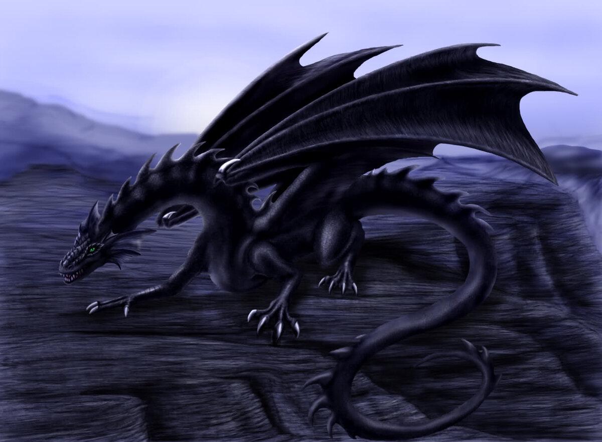 Лет, открытка с черным драконом