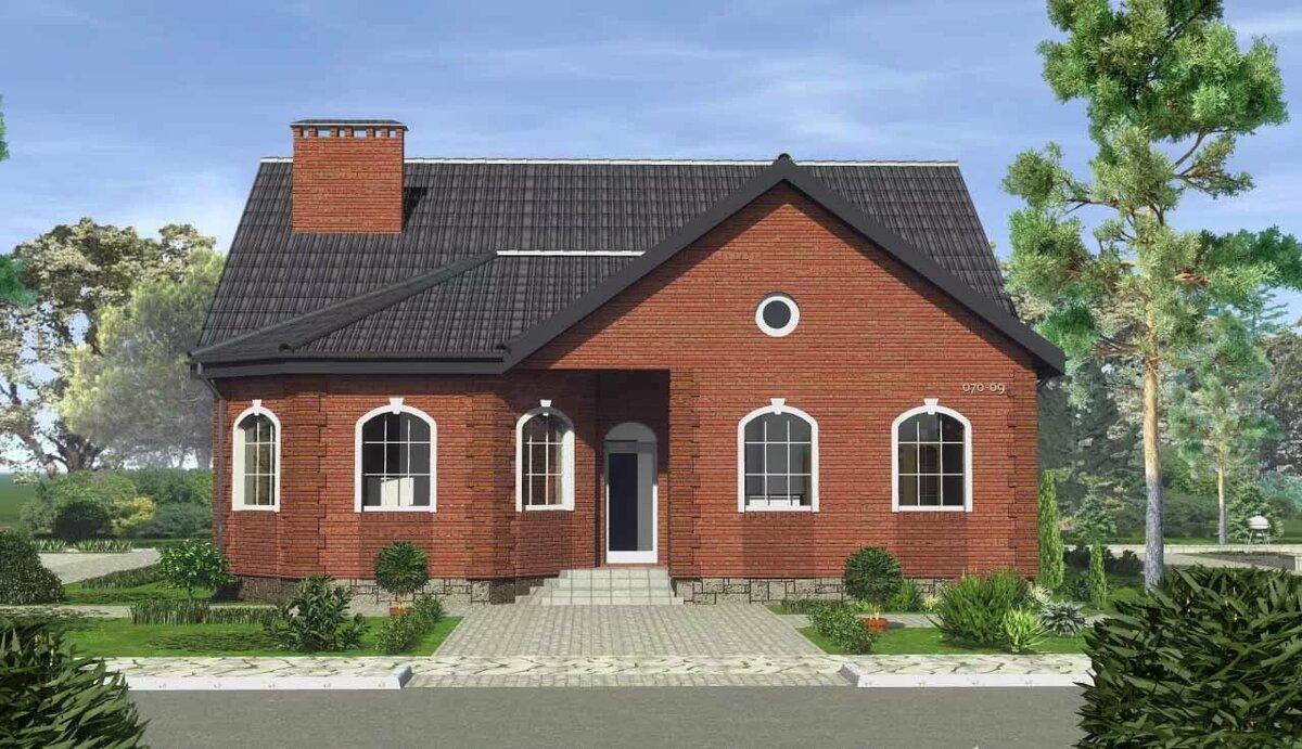 Фасады кирпичных домов фото одноэтажных с эркером