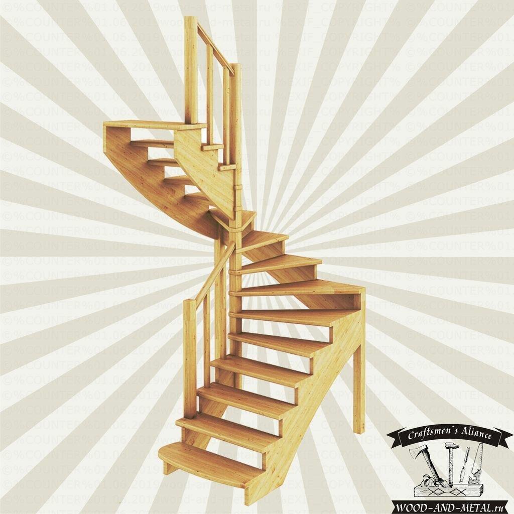 Лестницы с забежными ступенями в картинках
