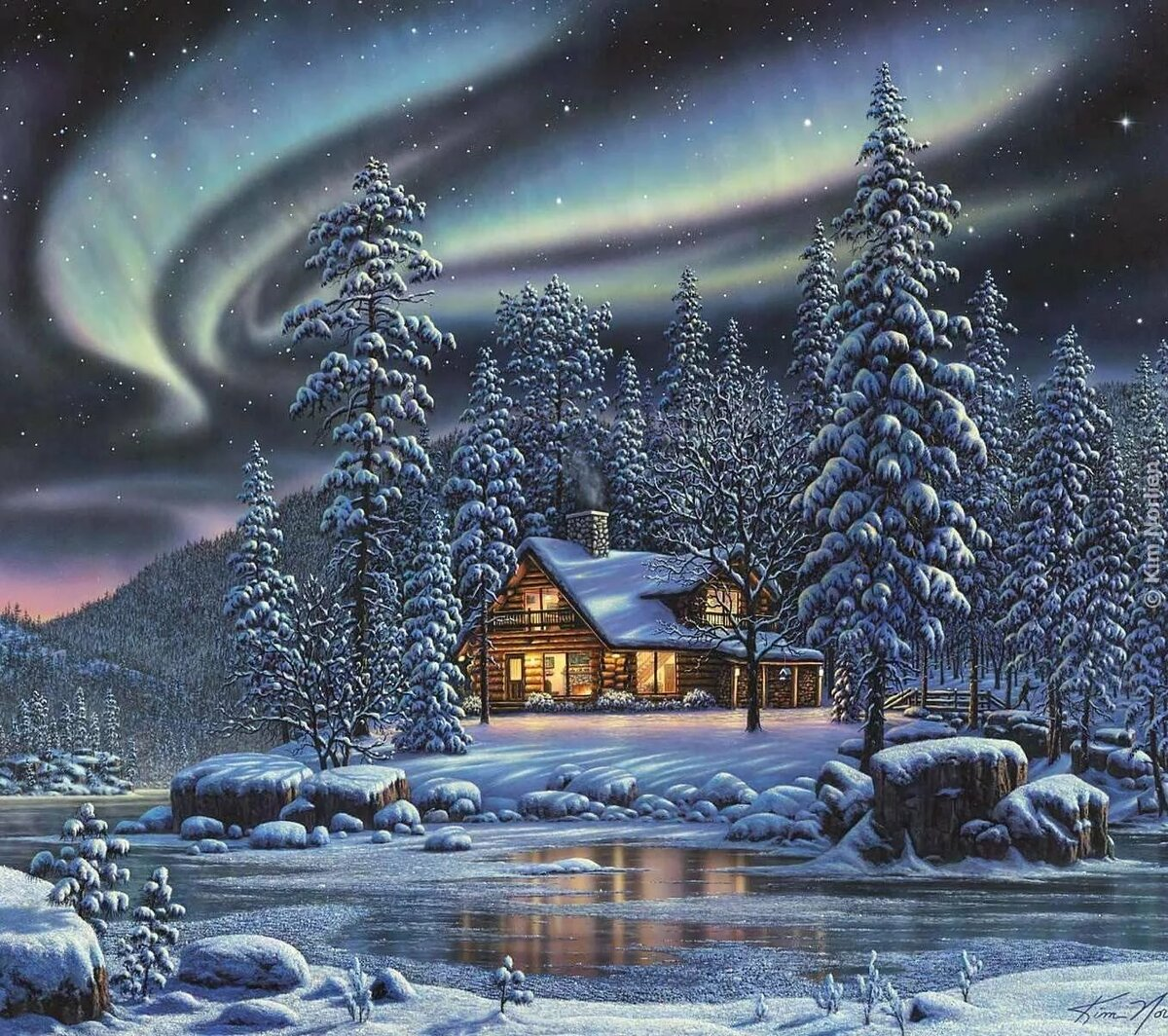 Новогодний пейзаж в картинках
