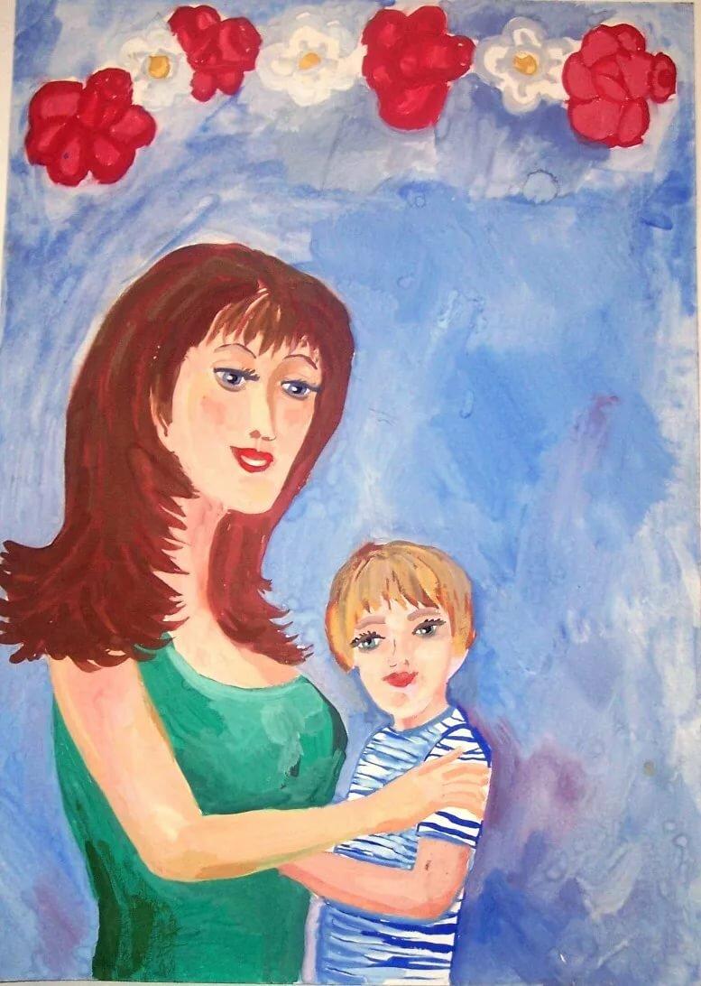 помощью рисунок на тему моя любимая мама кто