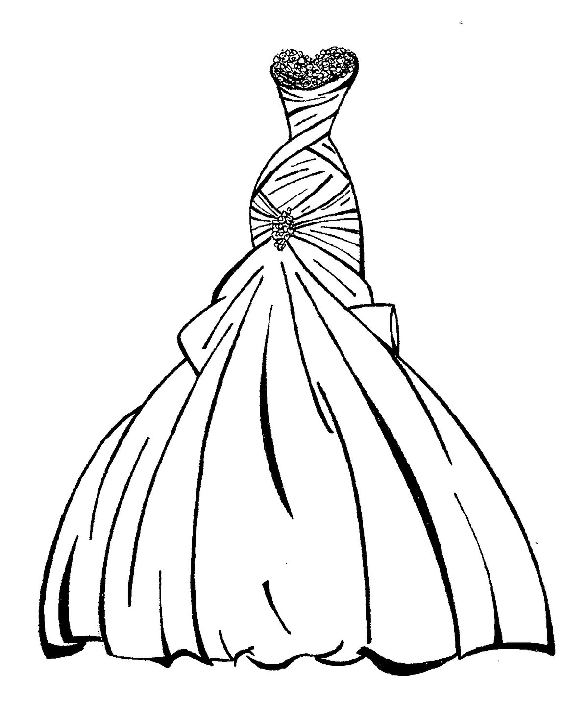 картинки как нарисовать красивые платья букет роз