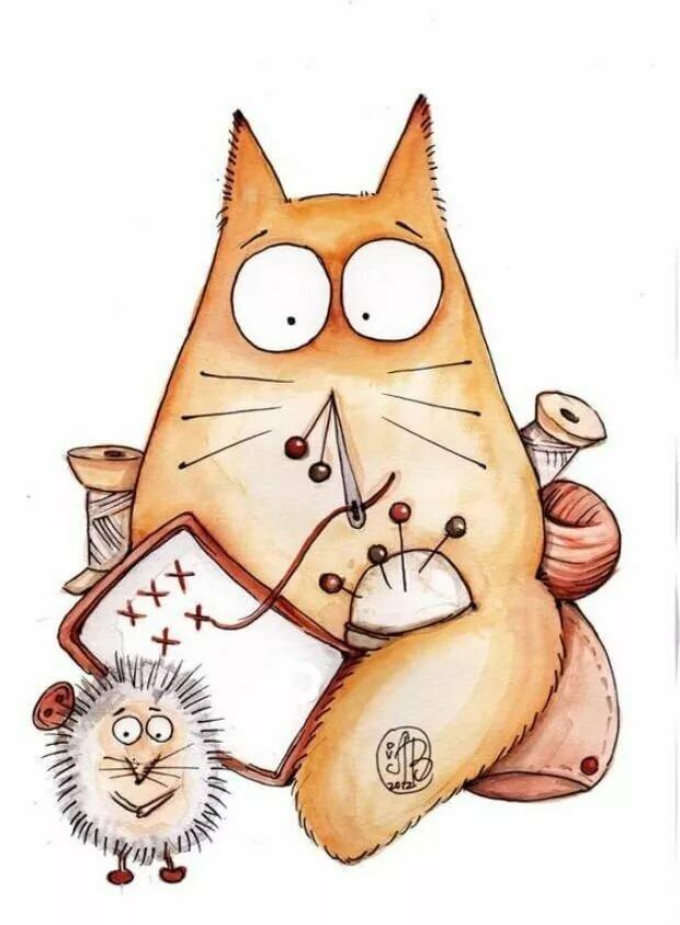 Прикольные нарисованные котики картинки, открытки фигурные открытки