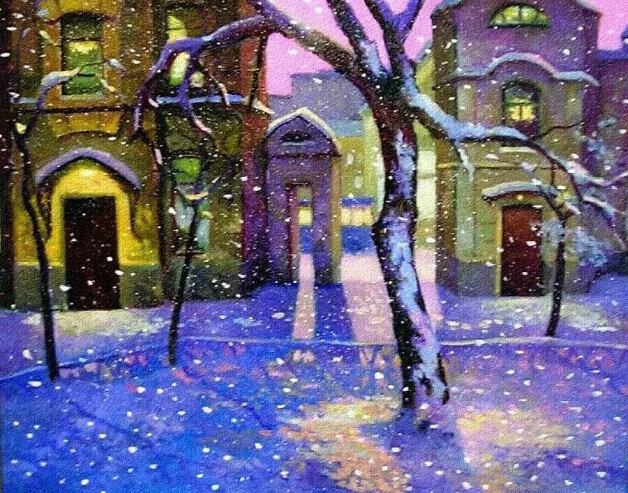 Снег идет в городе картинки для детей