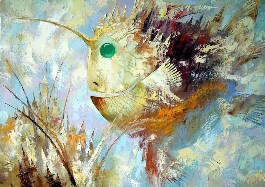 многие картина рыбы маслом малярных