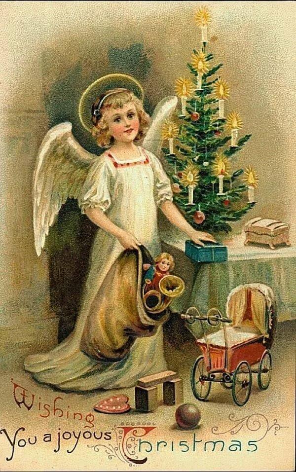Винтажная открытка с рождеством