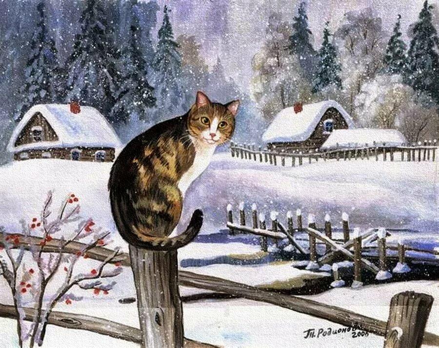 картинки зимние пейзажи котята лучших, если