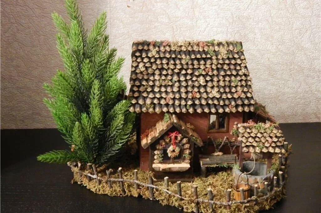 картинки домики из шишек