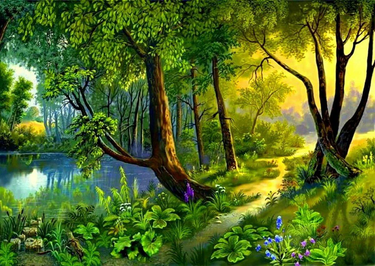 Живая картина лес
