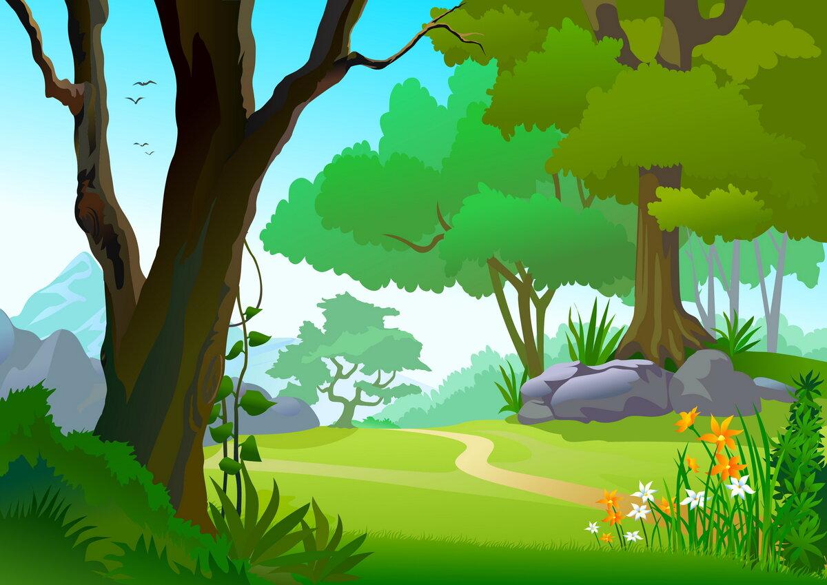 Картинки лес и поляна нарисованная