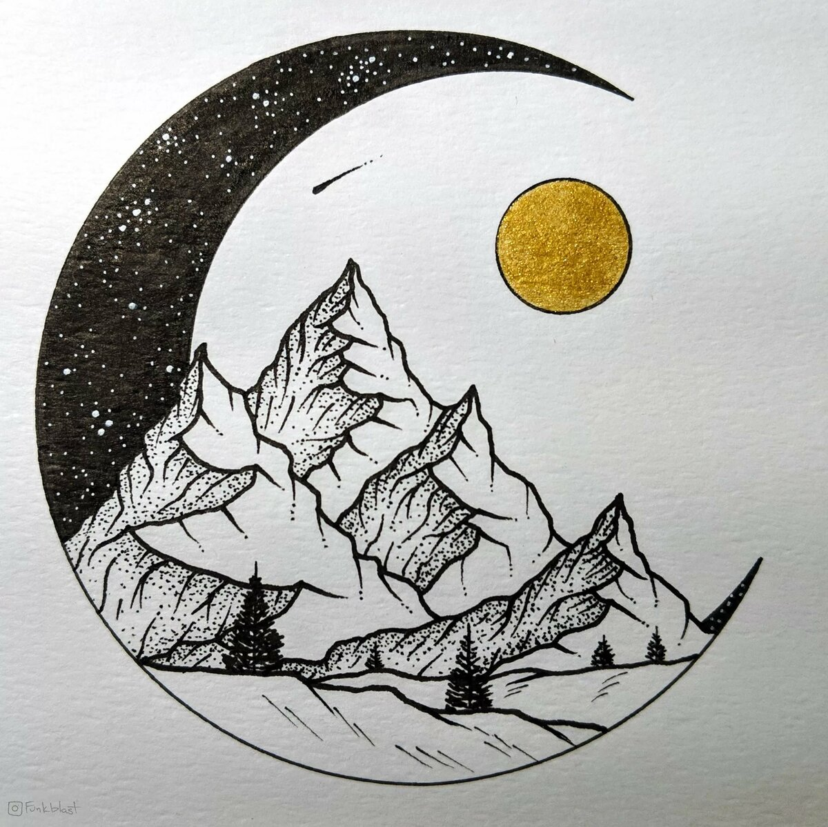 pretty moon drawing - HD 1200×1199