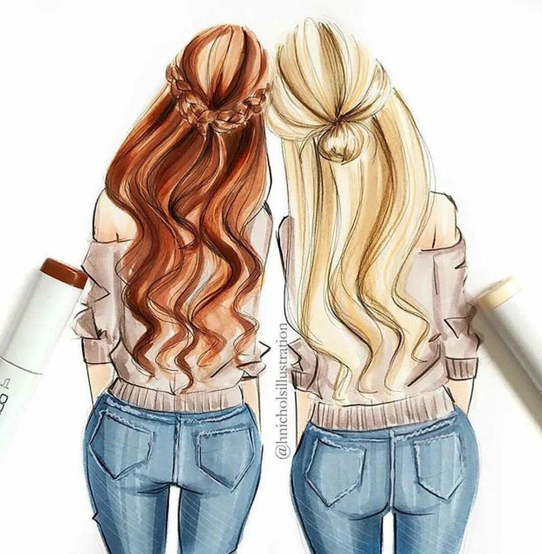 Рисунок лучшие подруги простой