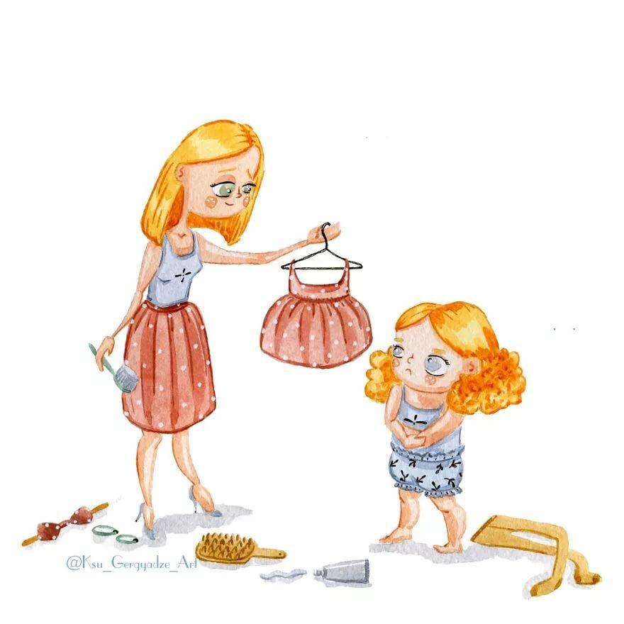 мама и дочка картинки юмор процессе