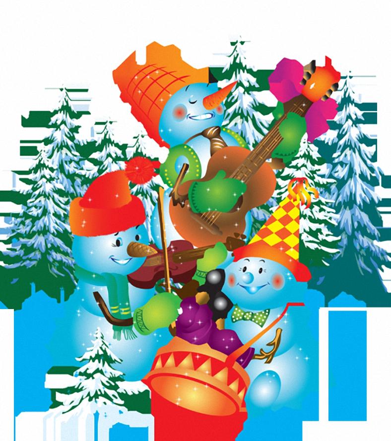 Новогодние открытки снеговик и елка