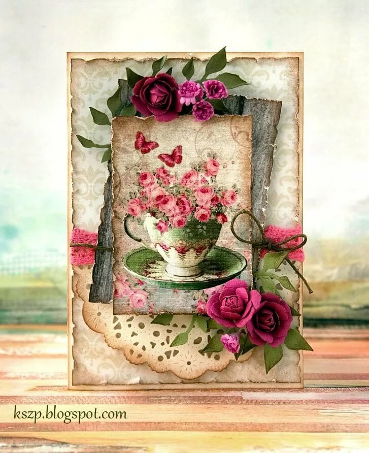 Розочки на открытке в скрапбукинге, царевич серый