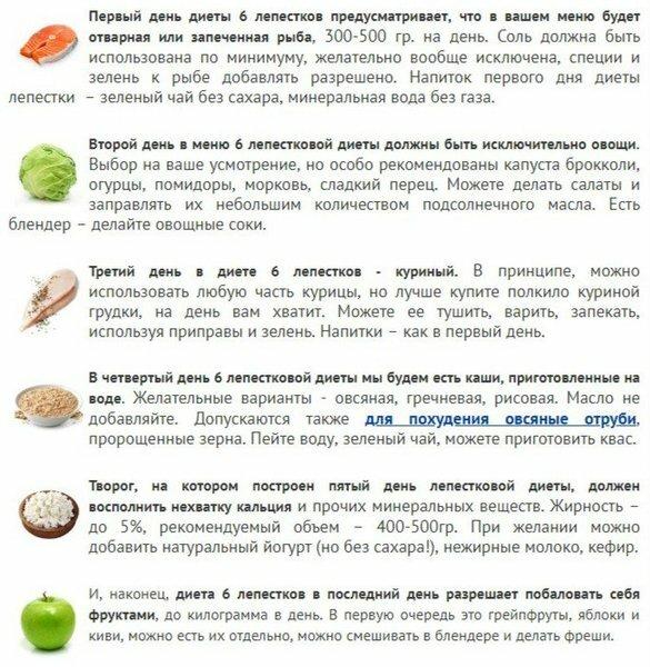 Похудеть быстро диета 6 лепестков