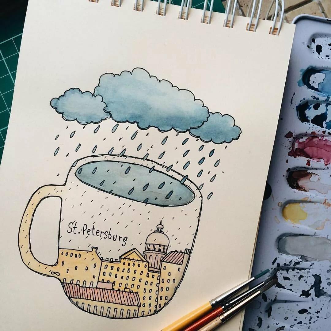 Рисунки для скетчбука прикольные, анимационные цветами день