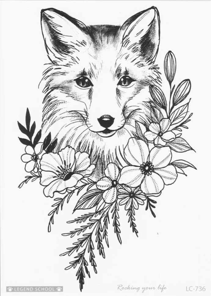 Картинка черно белая лиса