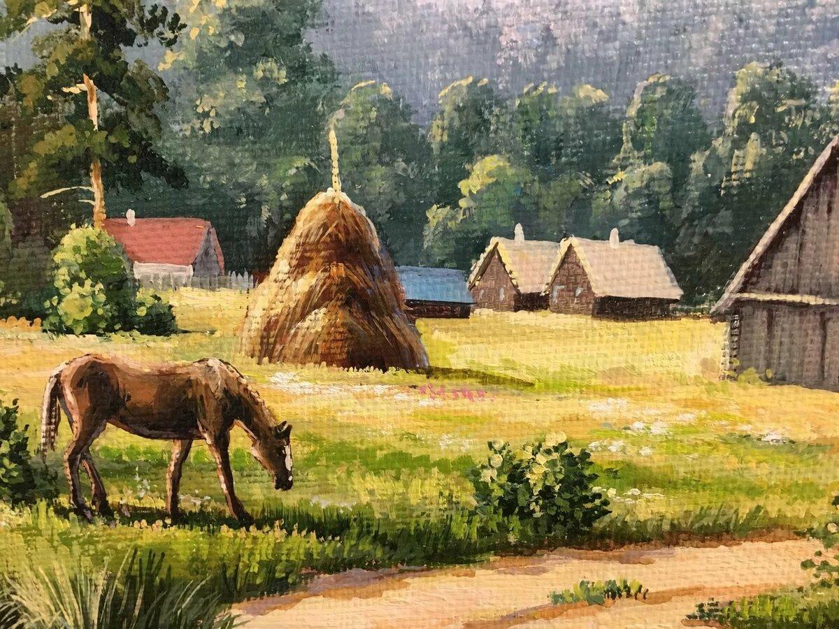 Рисунки деревенские картинки