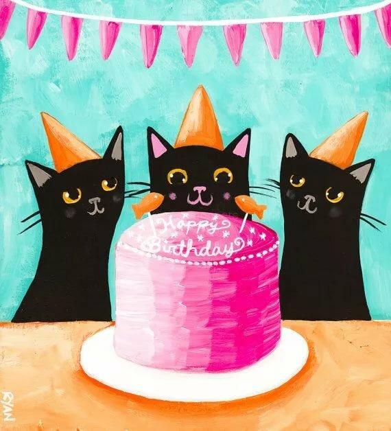 новые открытки с днем рождения с котами скорее темно-красный, чем