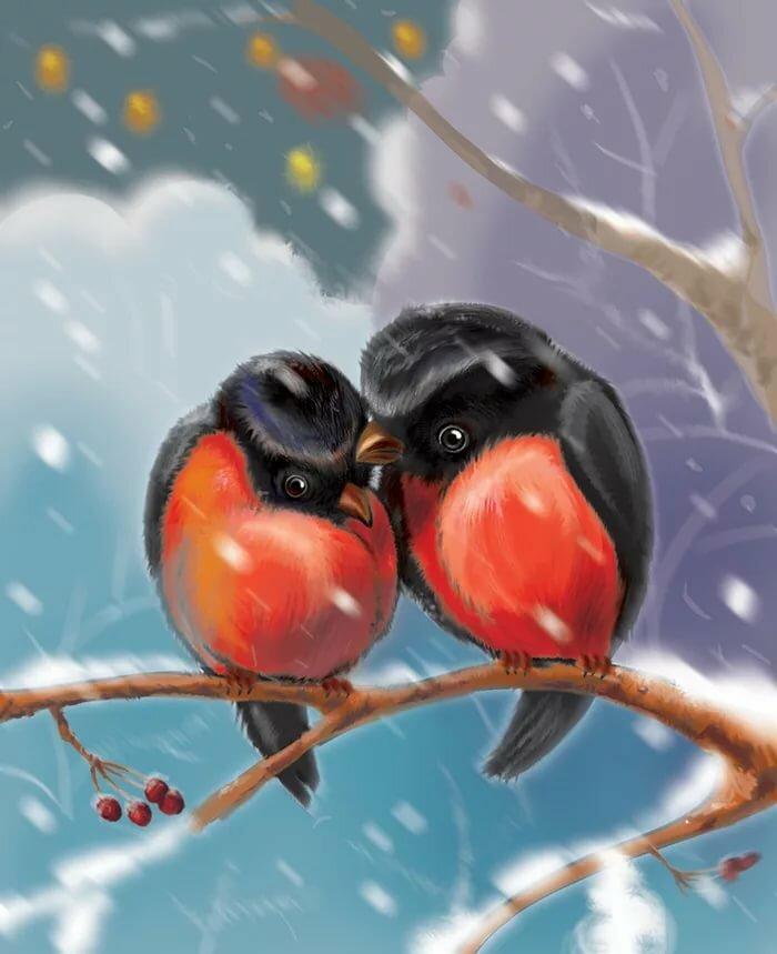 открытка две птички примеру