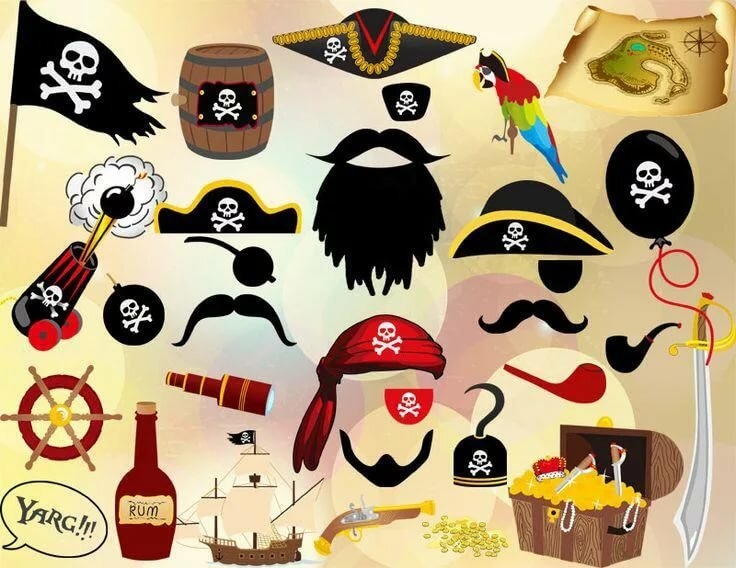 знает, возможно пиратские атрибуты в картинках помещения под